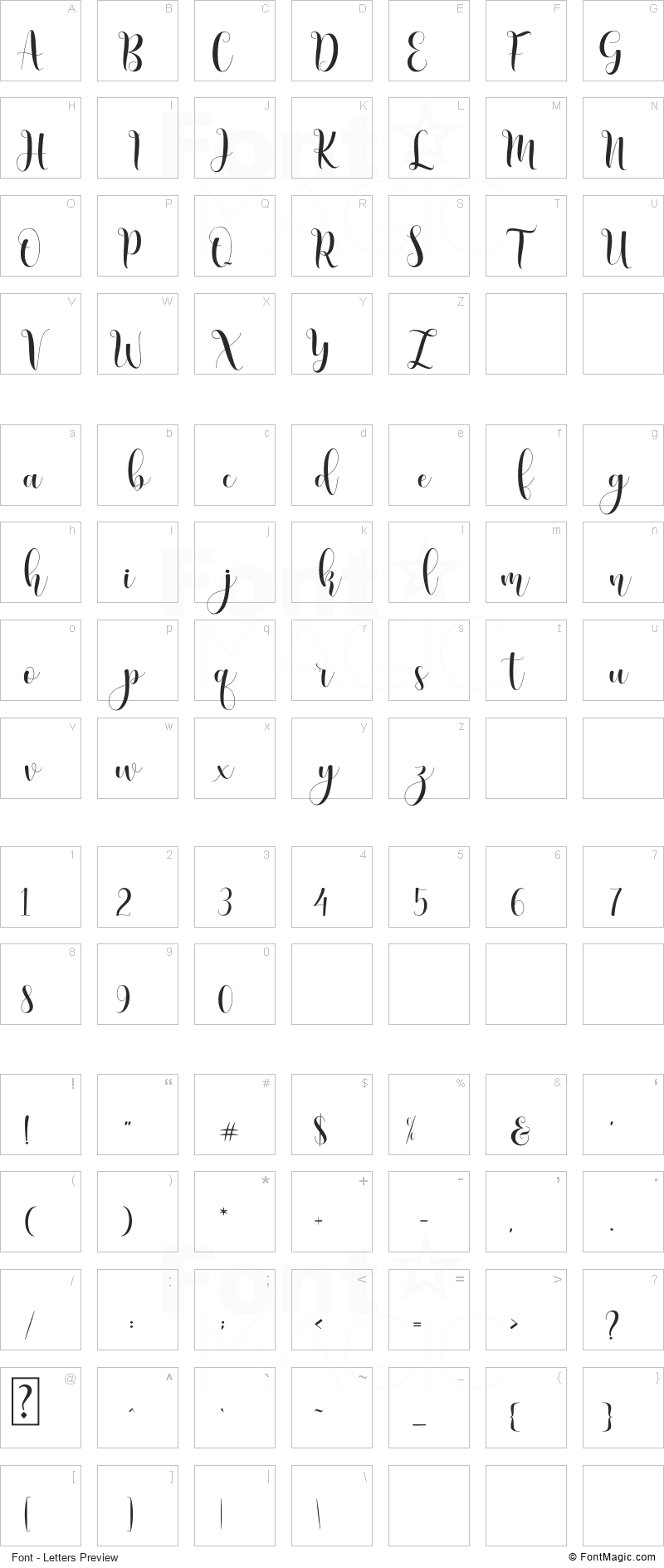 Honney Font - All Latters Preview Chart