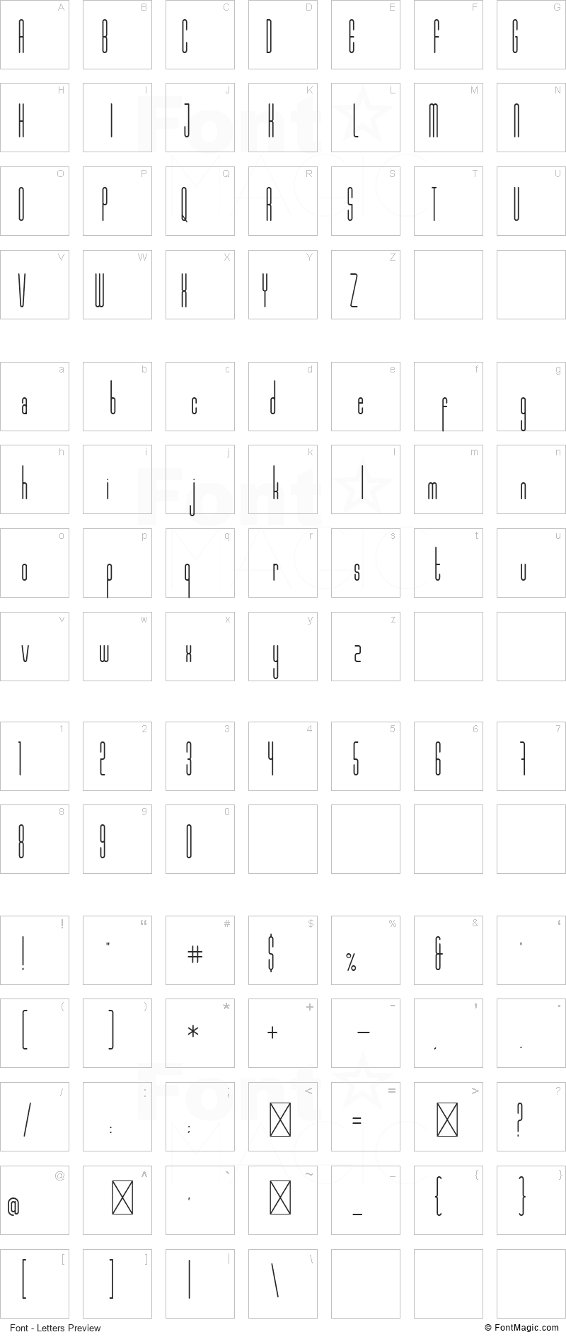 Marbellya Font - All Latters Preview Chart