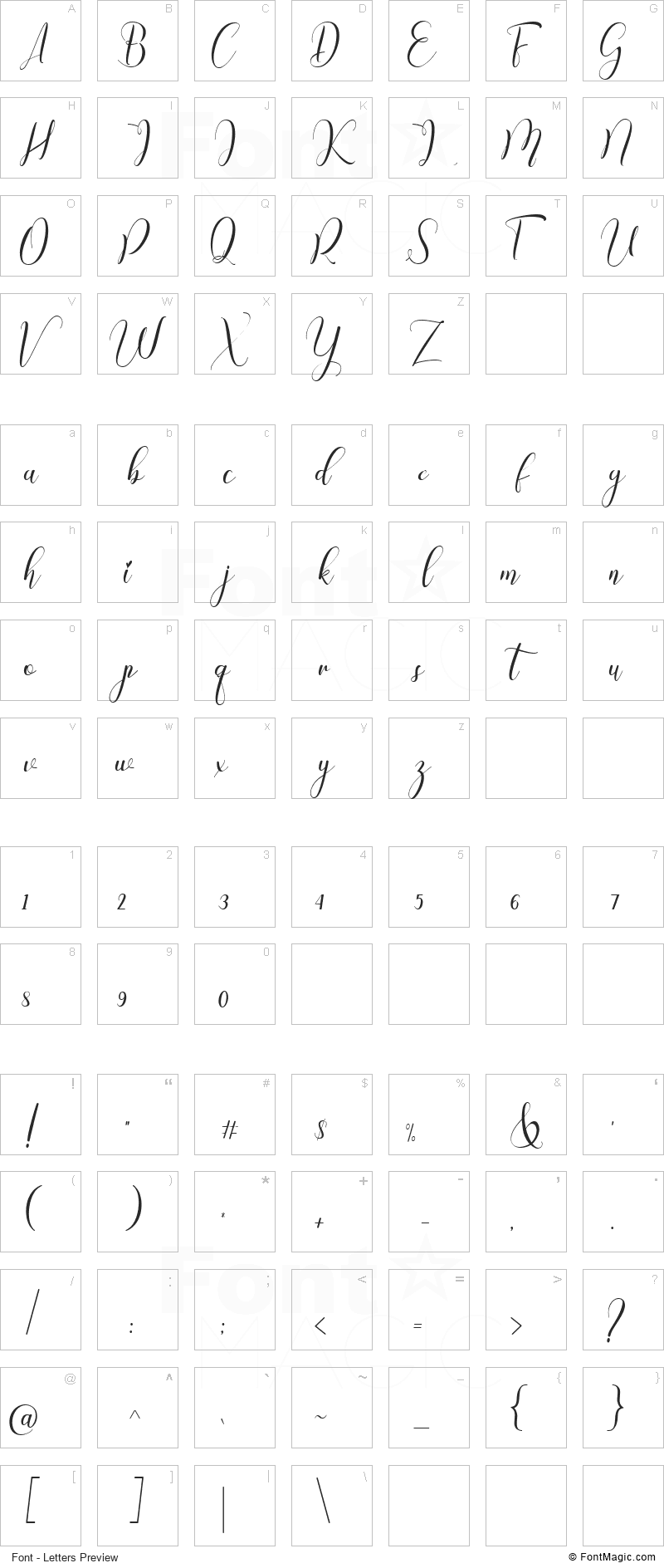 Chinthya Font - All Latters Preview Chart