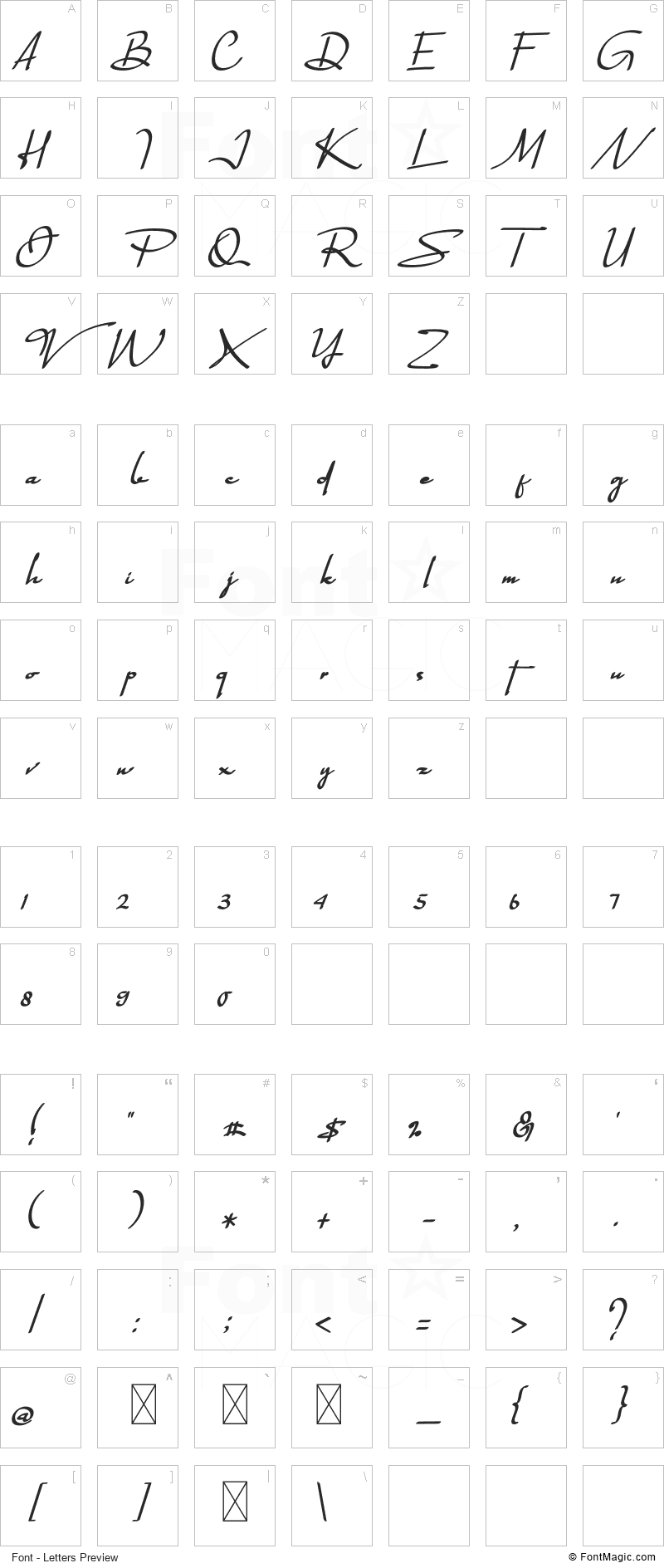 Quagralle Font - All Latters Preview Chart