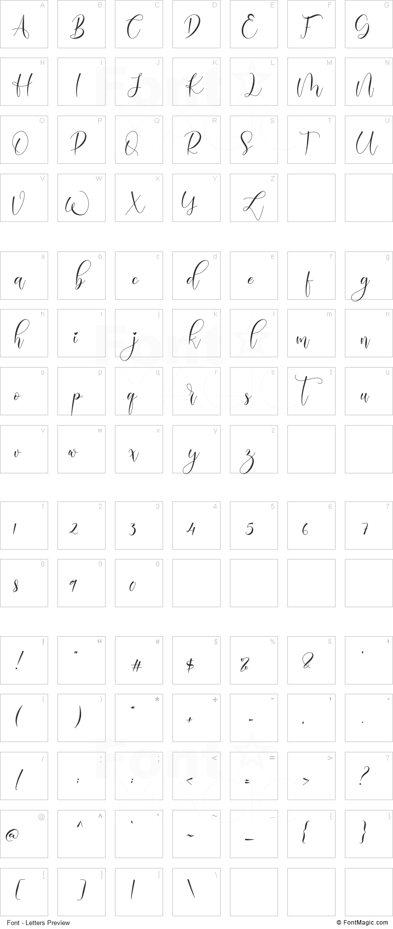 Madalina Font - All Latters Preview Chart