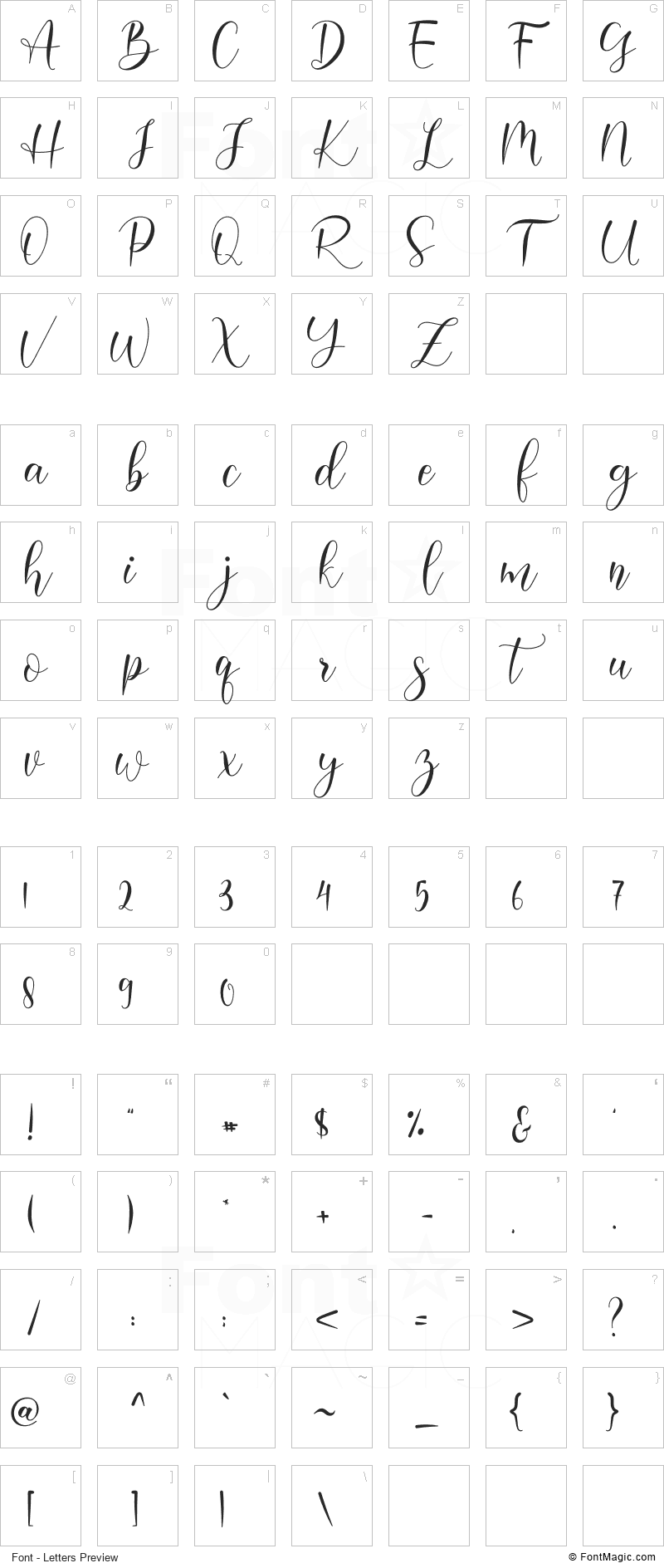 Harelia Font - All Latters Preview Chart