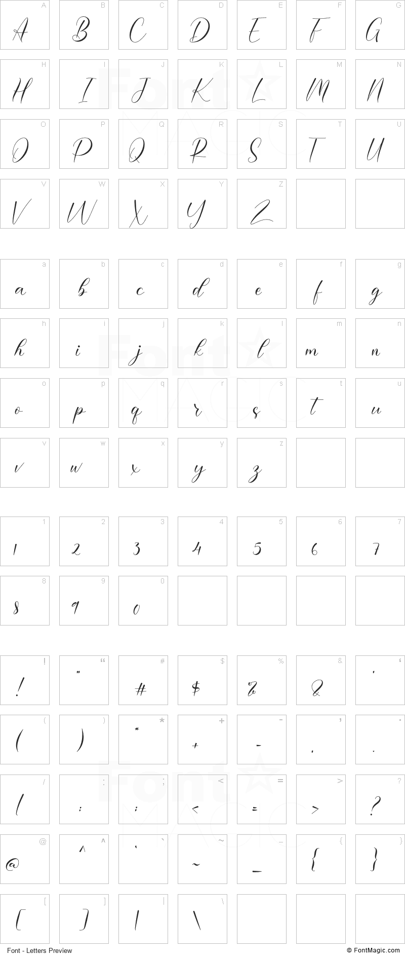 Morelove Font - All Latters Preview Chart