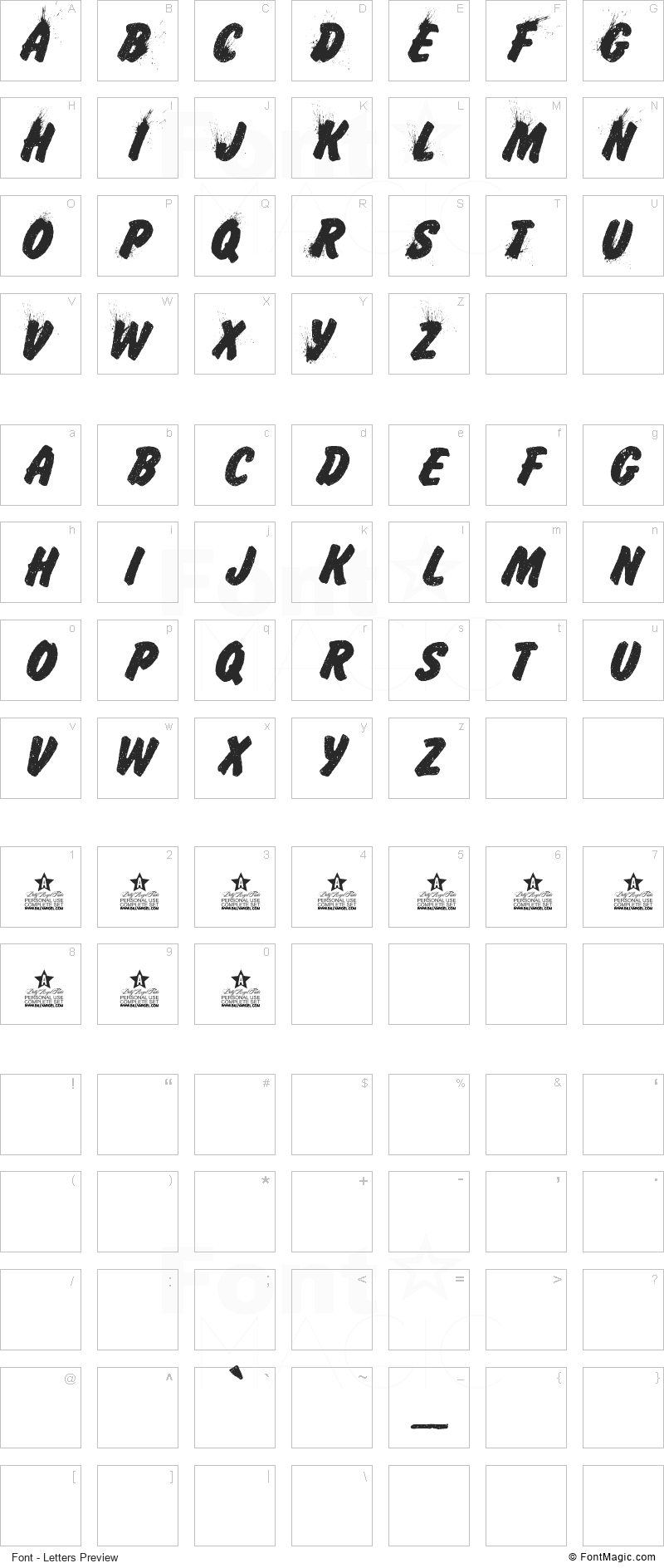 Iceland Font - All Latters Preview Chart