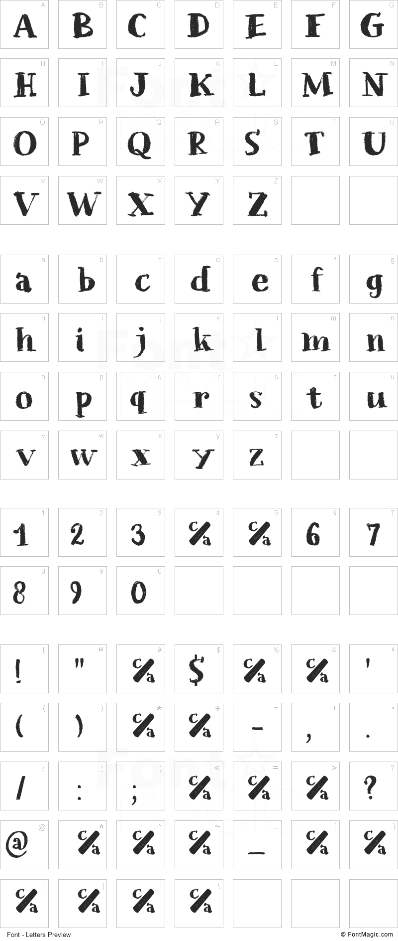 Chalkaholic Font - All Latters Preview Chart