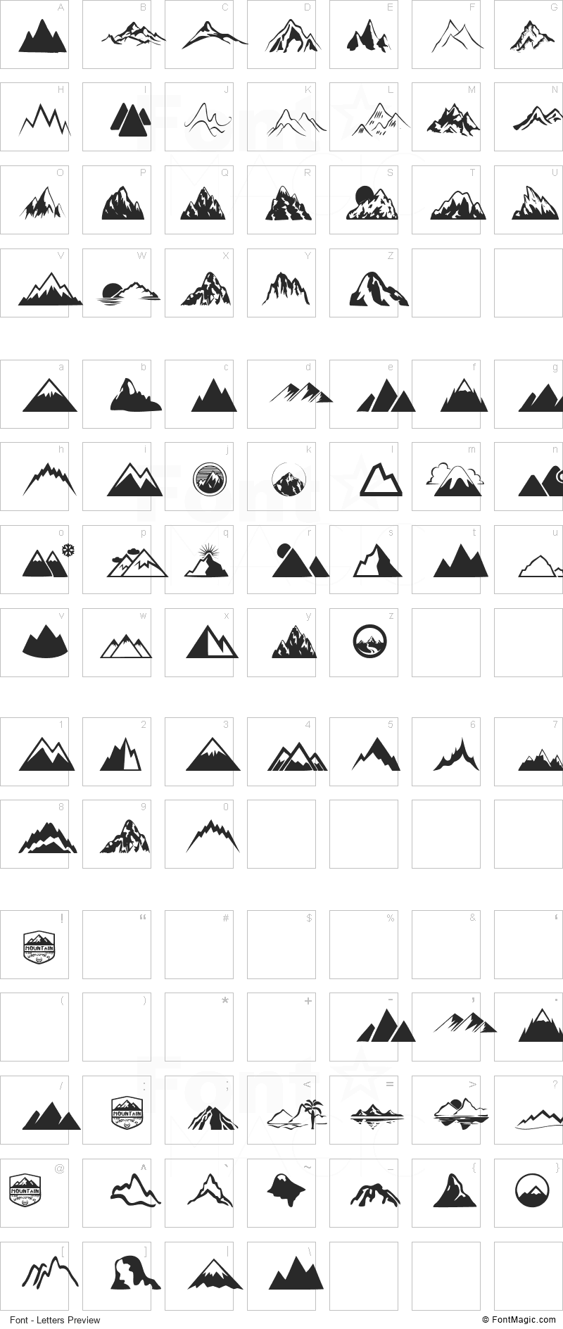 Mountain Font - All Latters Preview Chart