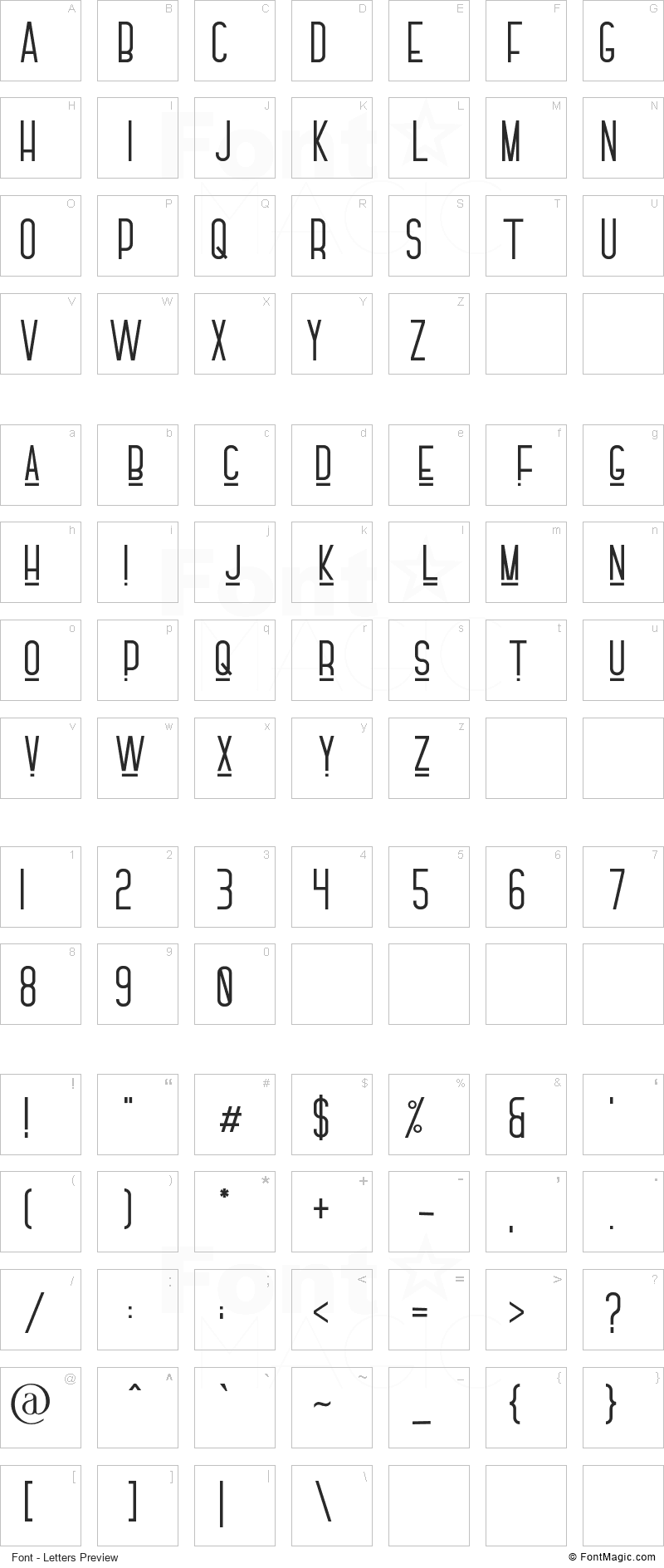 Fóntana Font - All Latters Preview Chart