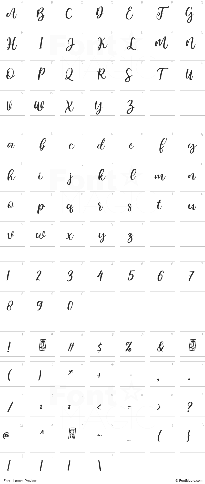 Bemalla Font - All Latters Preview Chart