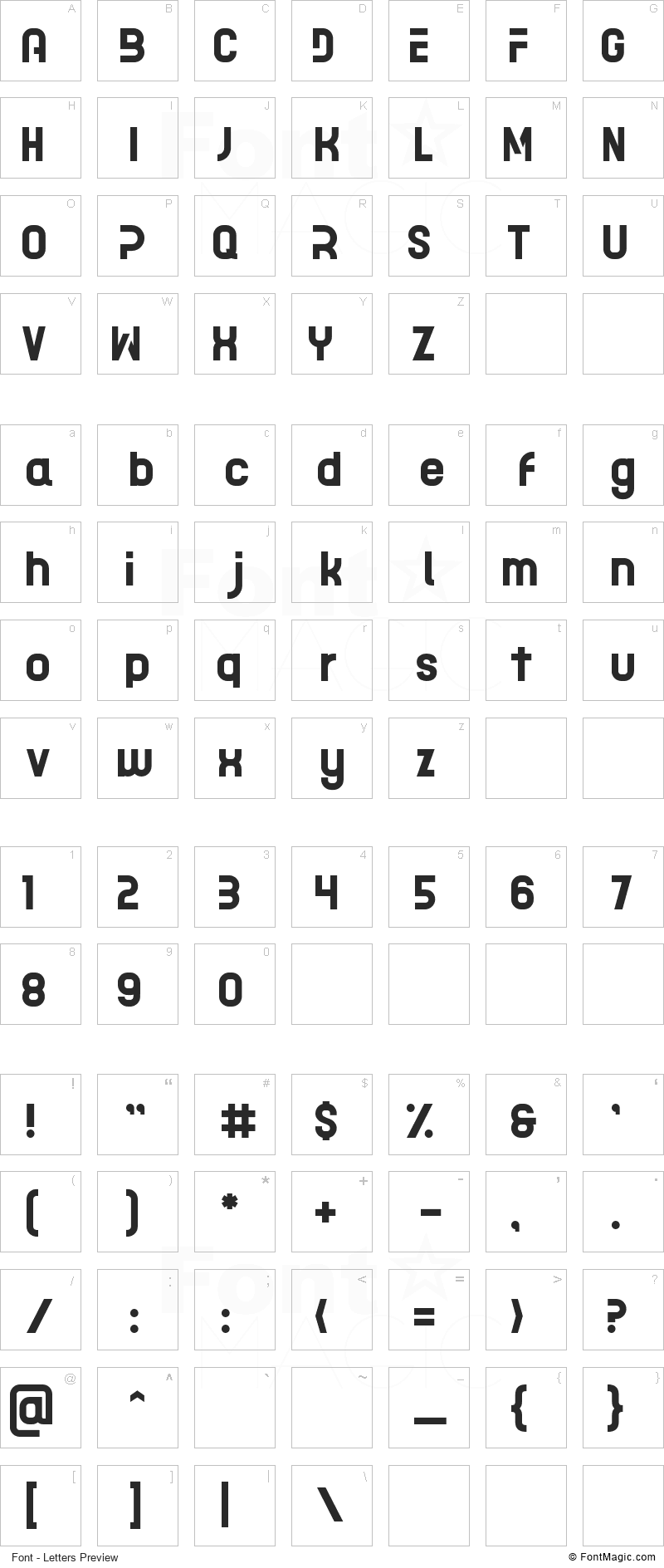 Acetone Font - All Latters Preview Chart