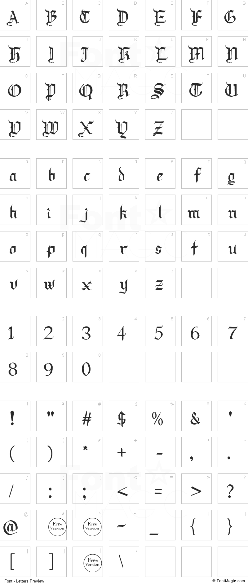 Draculie Font - All Latters Preview Chart