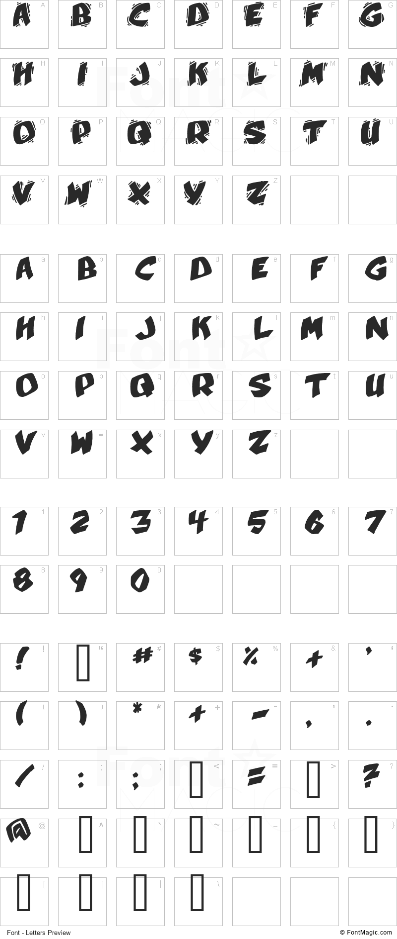 Umberto Font - All Latters Preview Chart