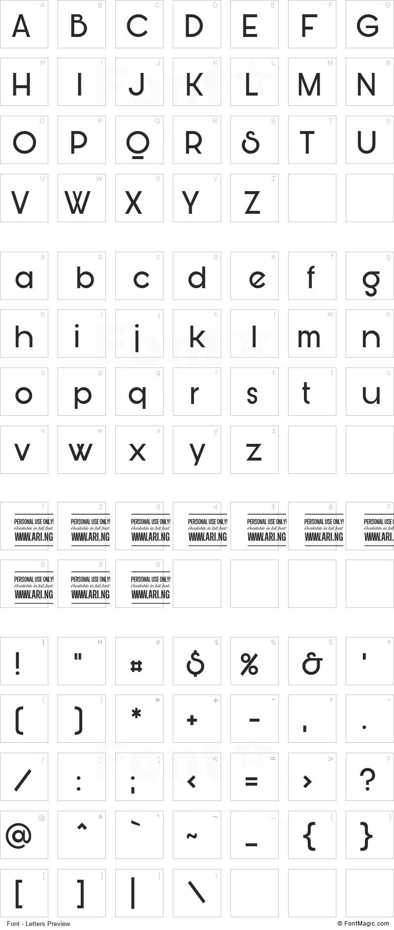 Bunya Font - All Latters Preview Chart