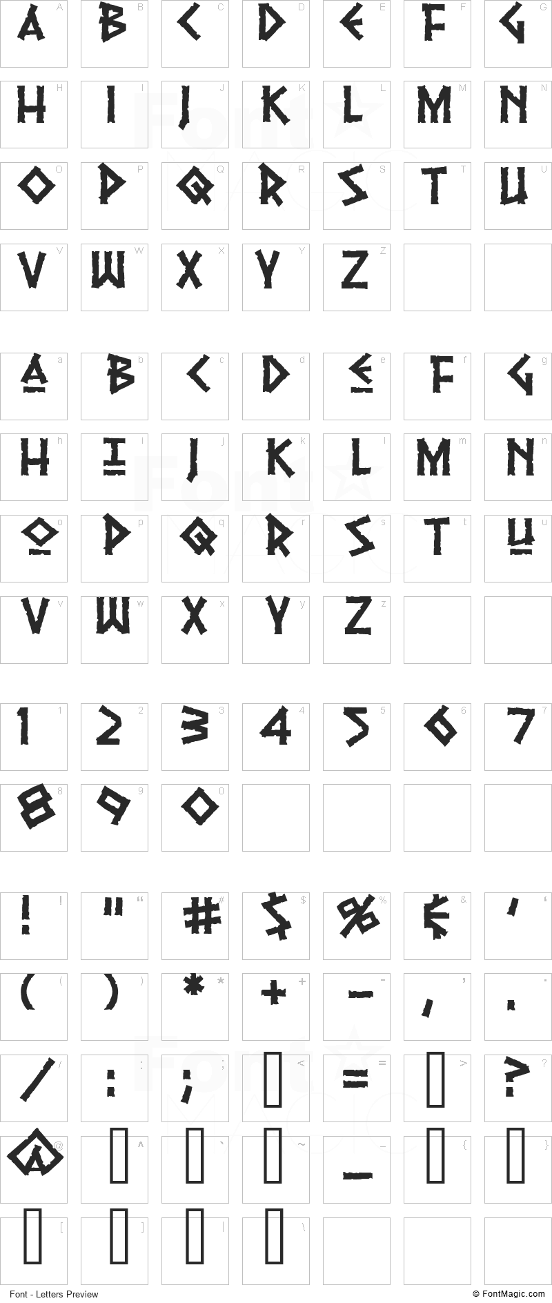 Pythia Font - All Latters Preview Chart