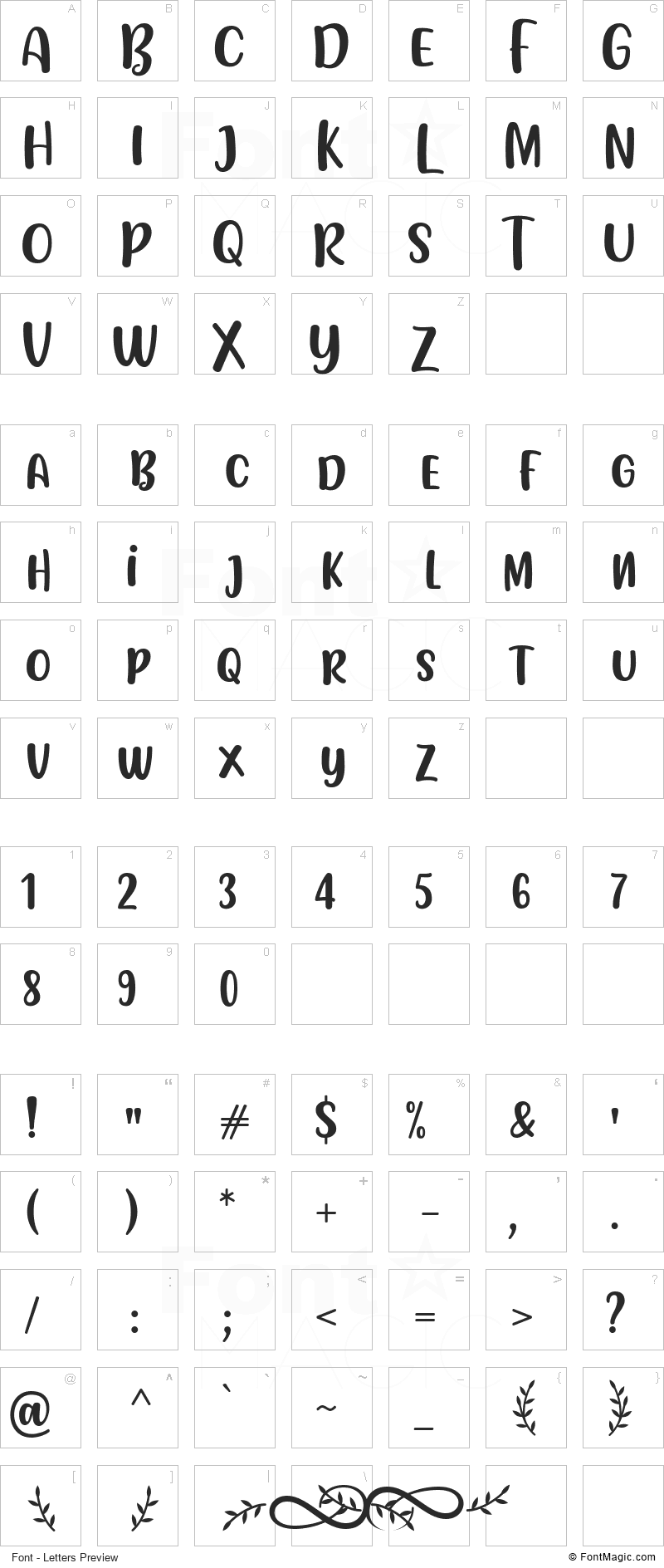 Flotta Font - All Latters Preview Chart