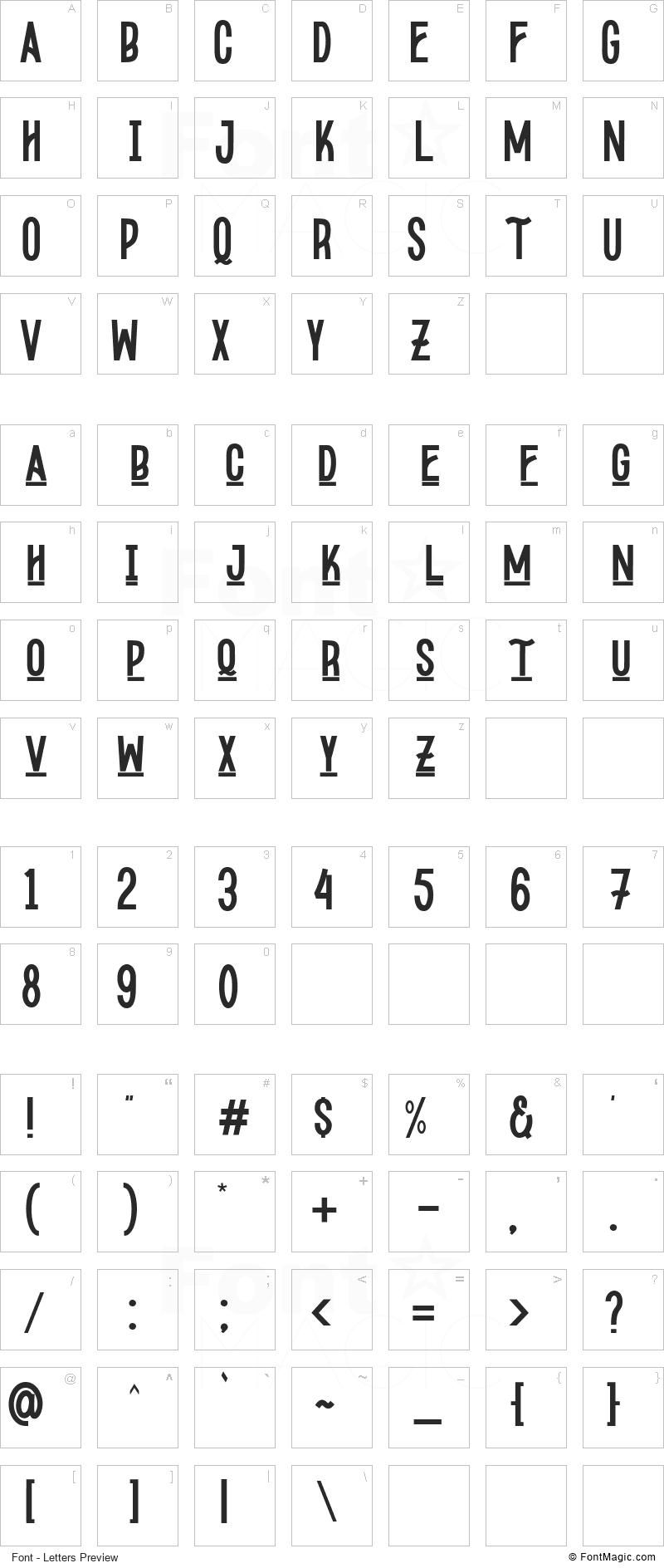 Kopodaps Font - All Latters Preview Chart