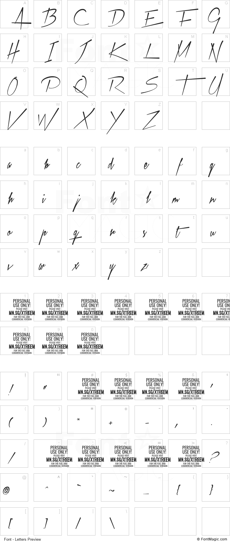 Xtreem Font - All Latters Preview Chart