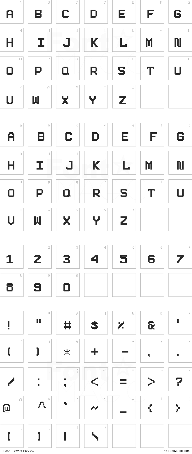 Pixeboy Font - All Latters Preview Chart