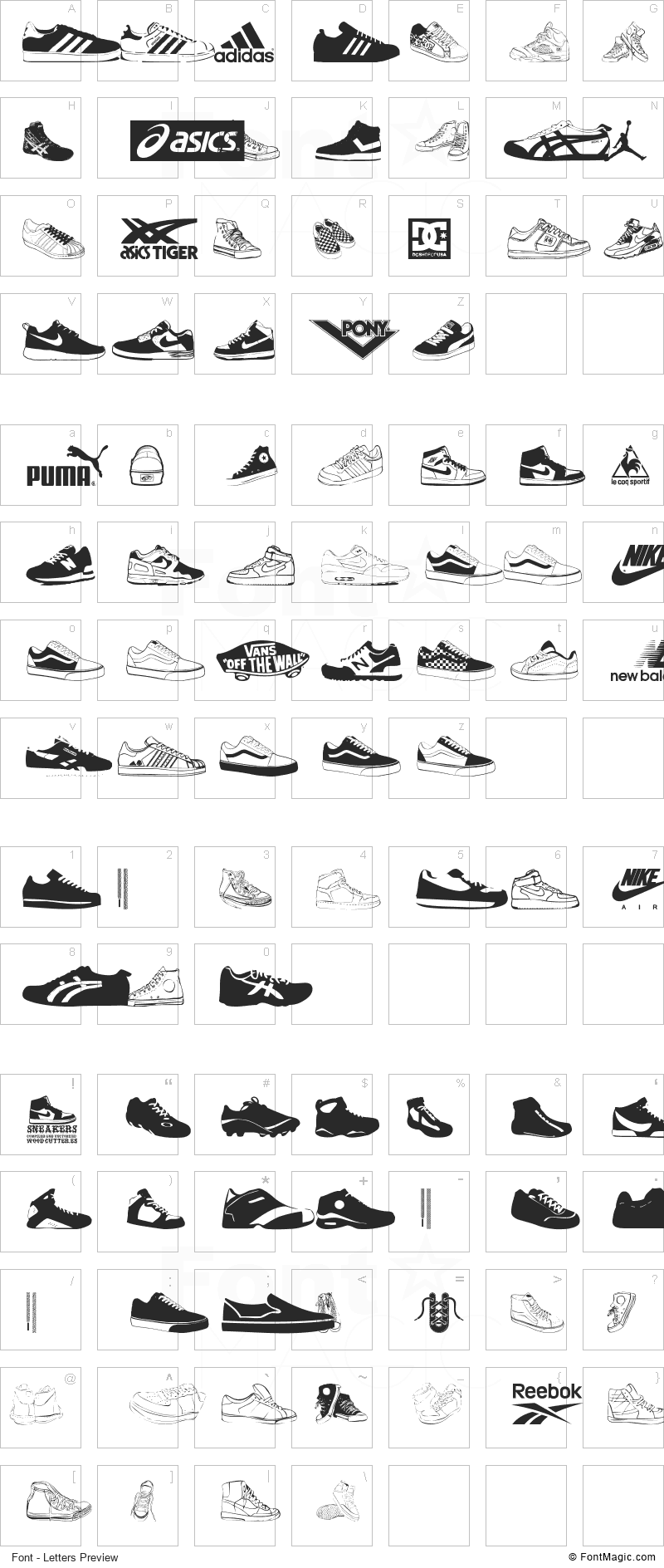 Sneakers Font - All Latters Preview Chart