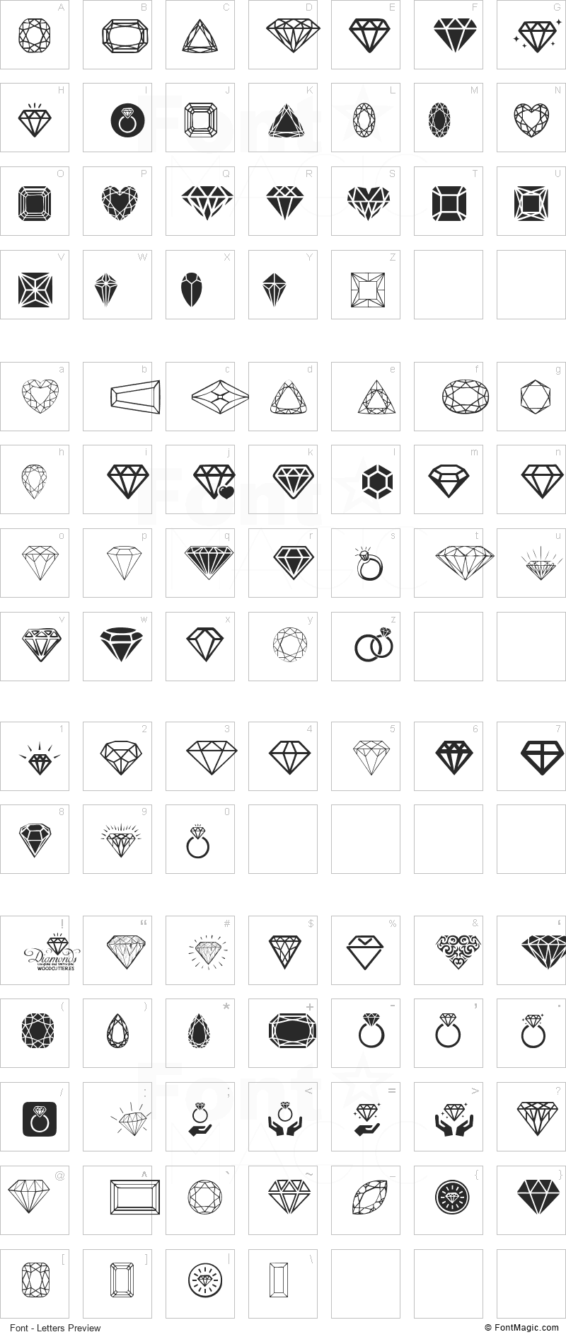 Diamonds Font - All Latters Preview Chart