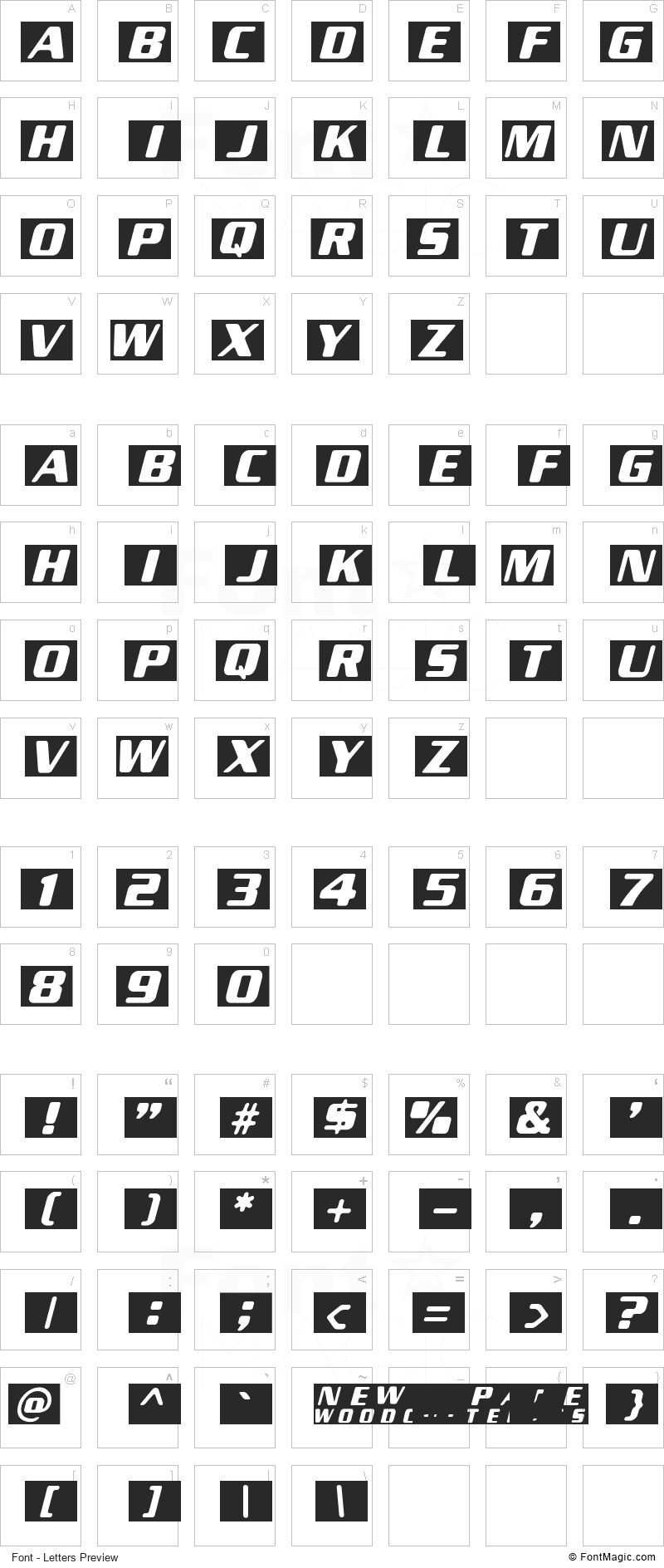 New Space Font - All Latters Preview Chart