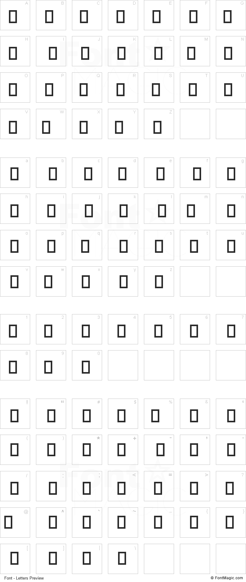 Clothes Font - All Latters Preview Chart