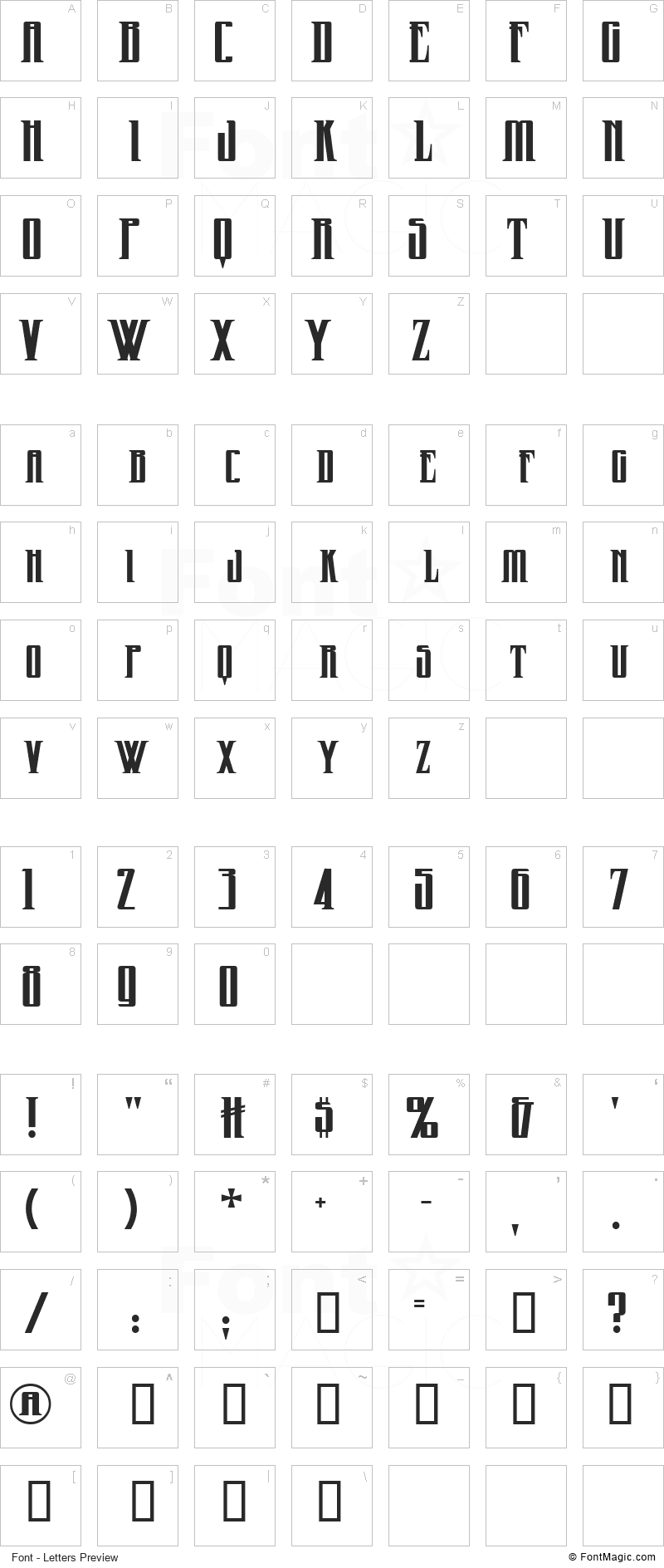 Wicked Queen Font - All Latters Preview Chart
