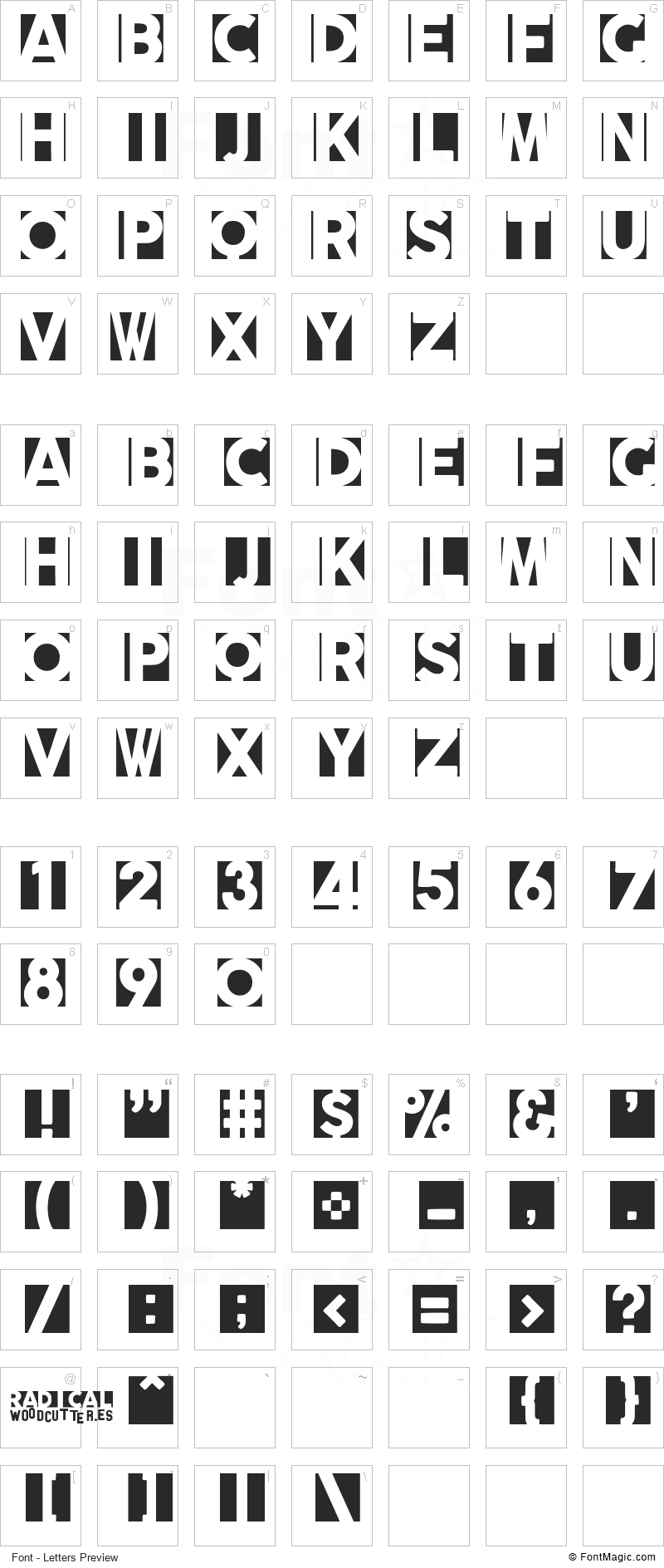 Radicalblock Font - All Latters Preview Chart