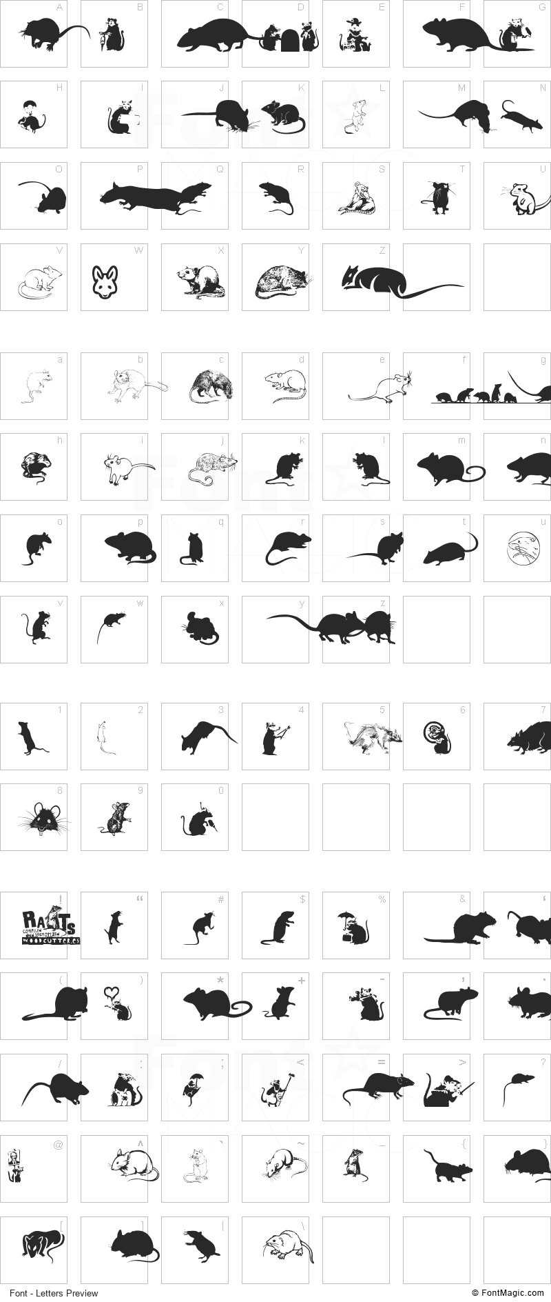 Rats Font - All Latters Preview Chart