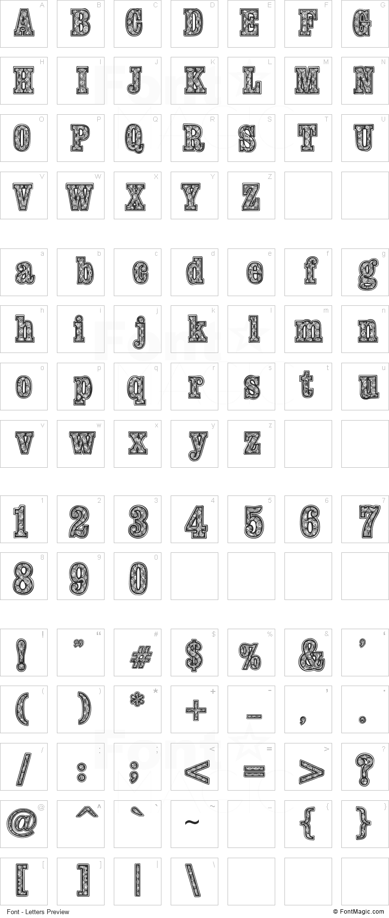 Woodcutter Fontana Font - All Latters Preview Chart