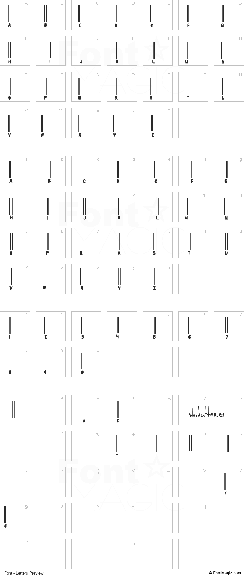 Woodcutter Barcode Font - All Latters Preview Chart