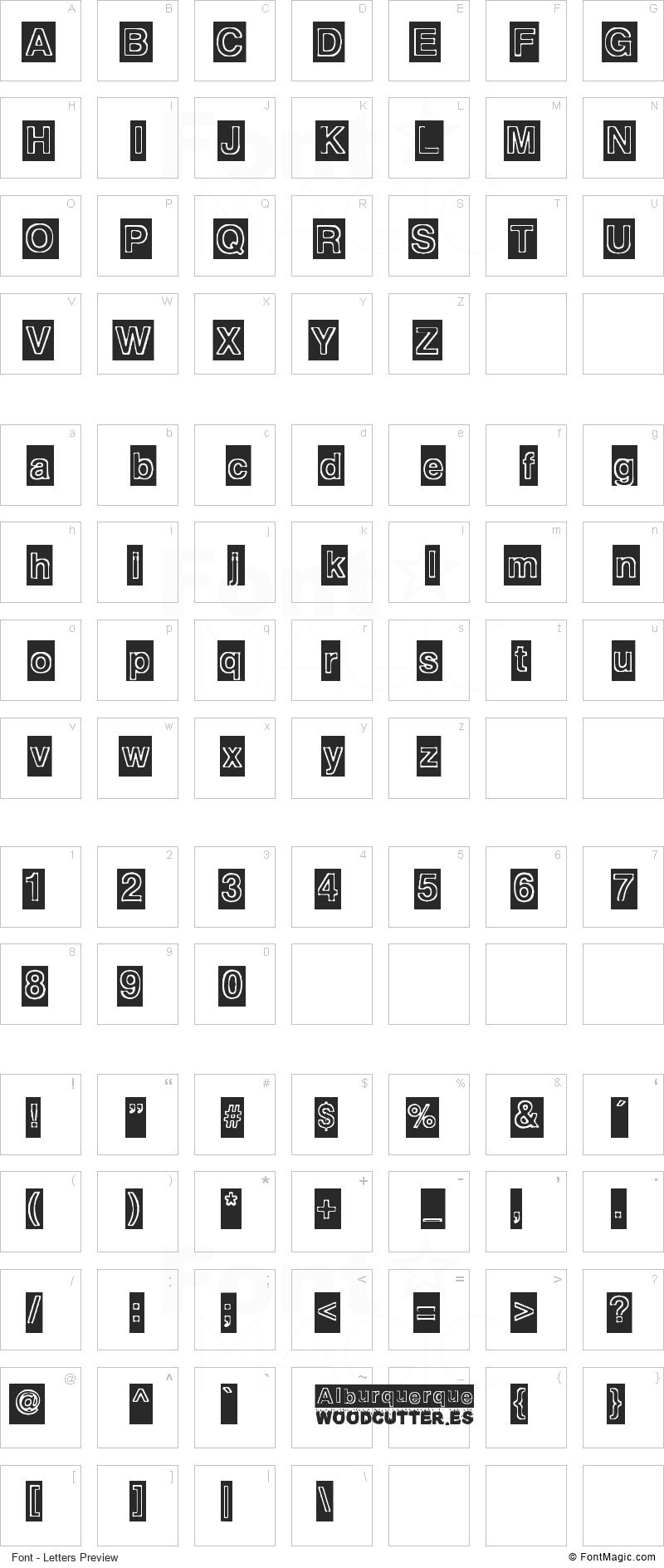 Alburquerque Font - All Latters Preview Chart