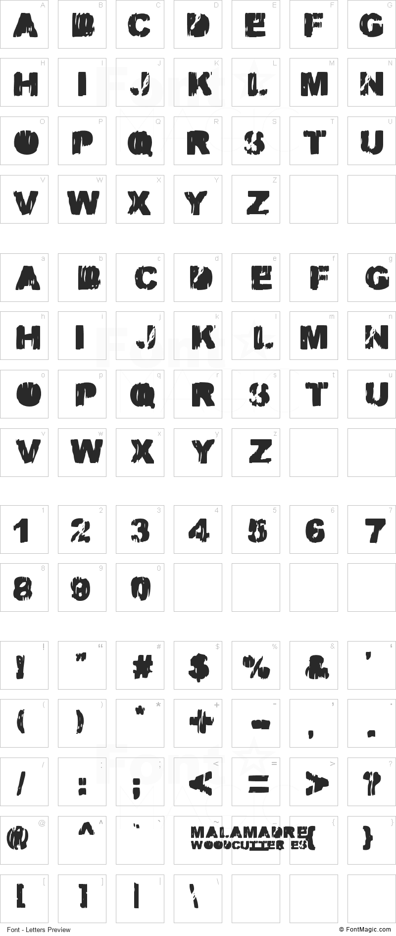 Malamadre Font - All Latters Preview Chart