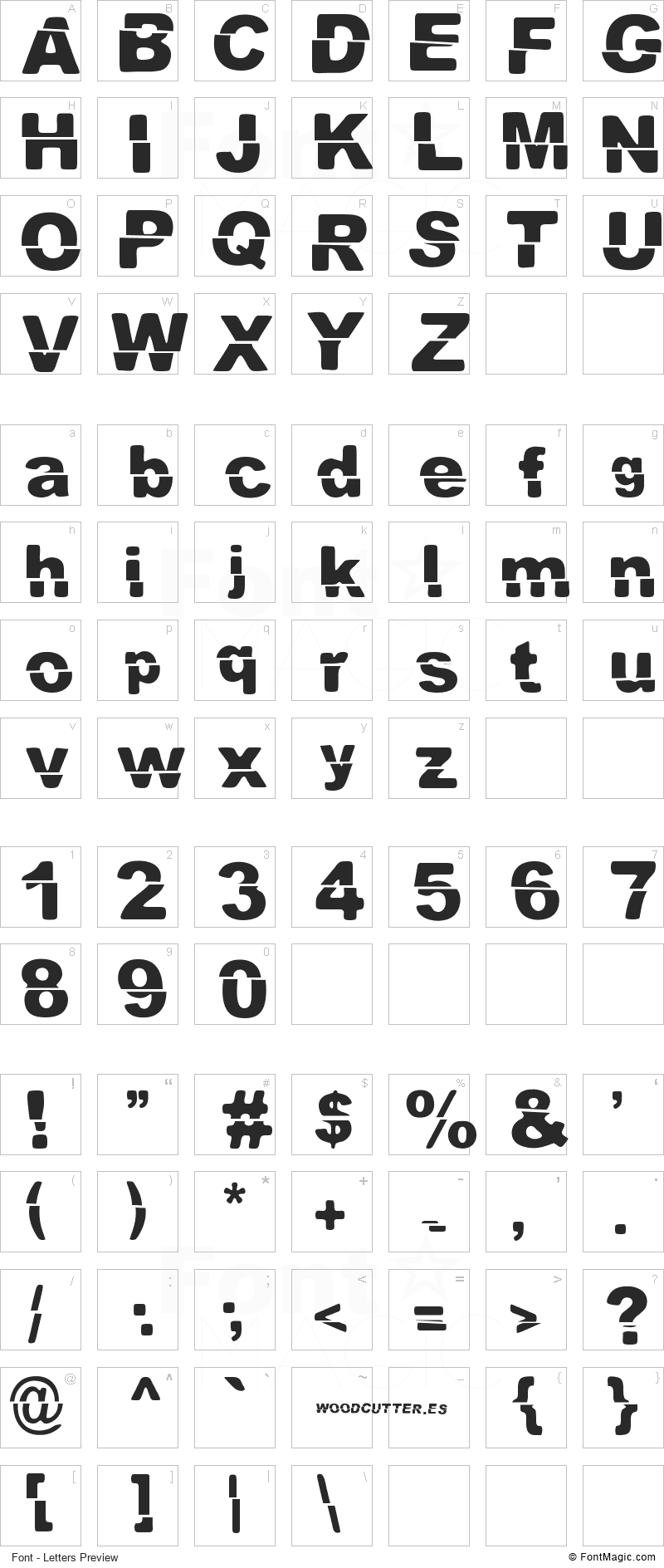 El Extraño Font - All Latters Preview Chart