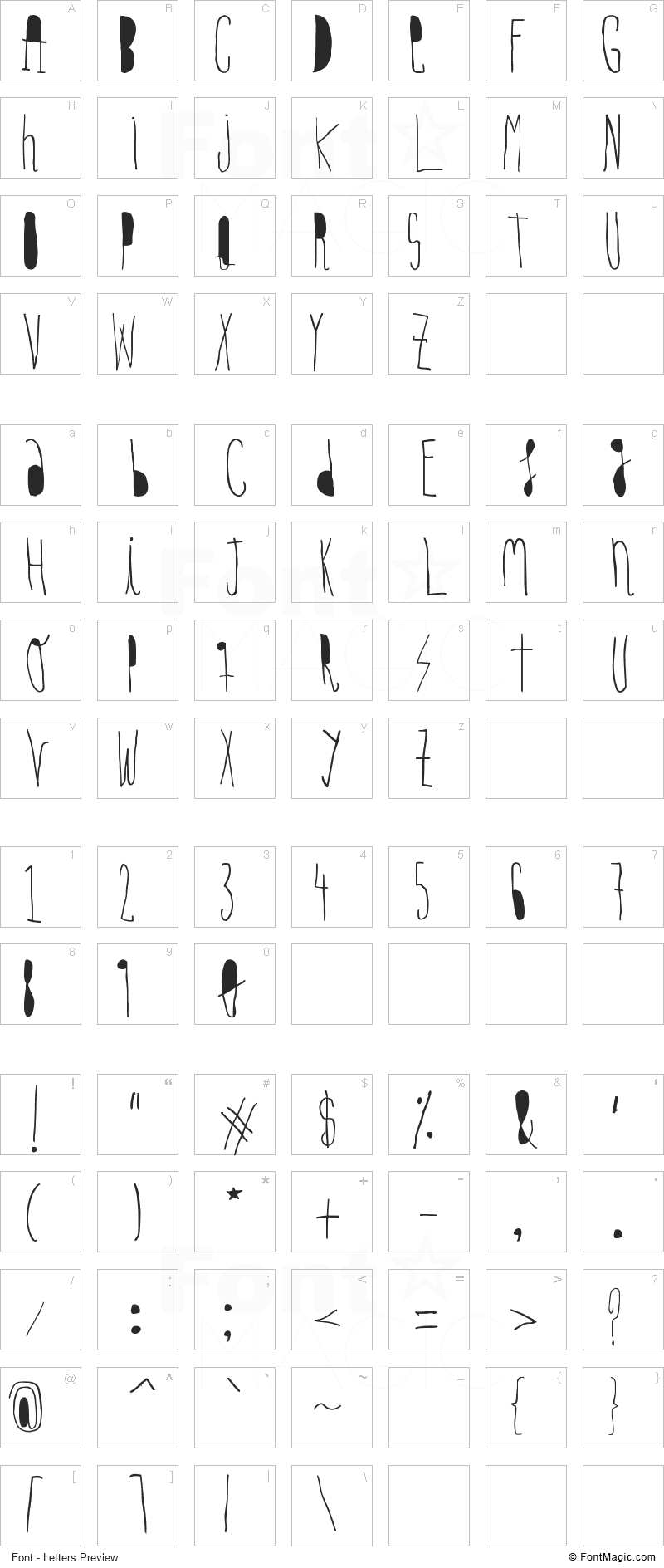 Woodcutter Hand Light Font - All Latters Preview Chart