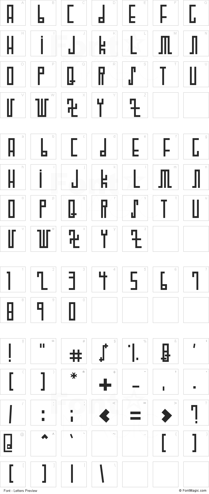 Woodcutter Future Font - All Latters Preview Chart