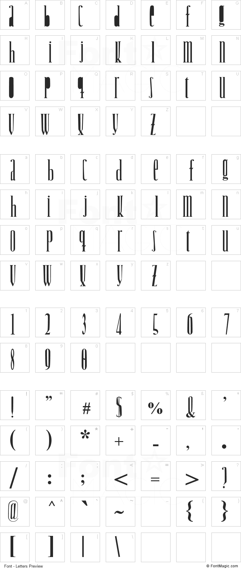 Woodcutter Jet-Set Font - All Latters Preview Chart