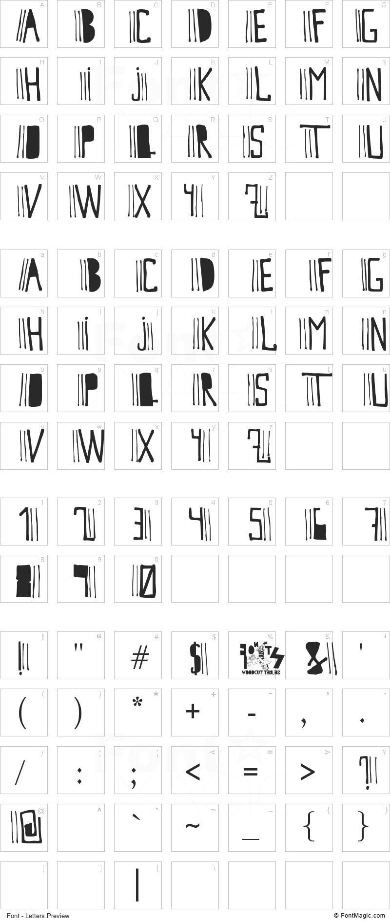 Cutre Glam Font - All Latters Preview Chart