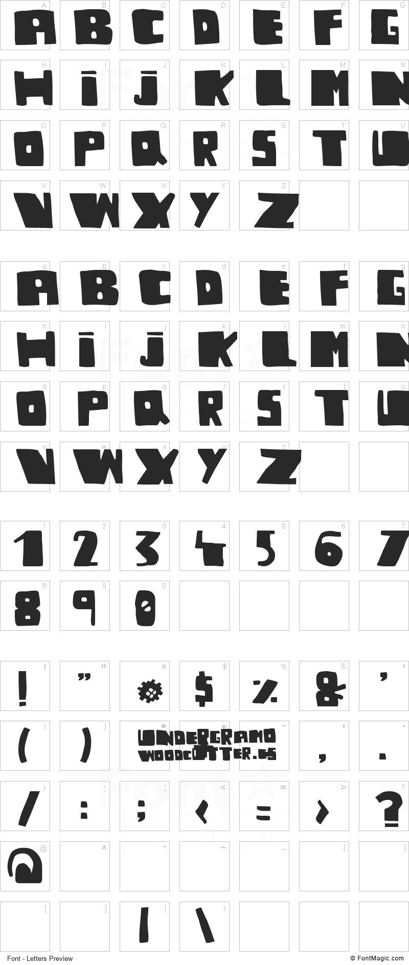 Undergramo Font - All Latters Preview Chart