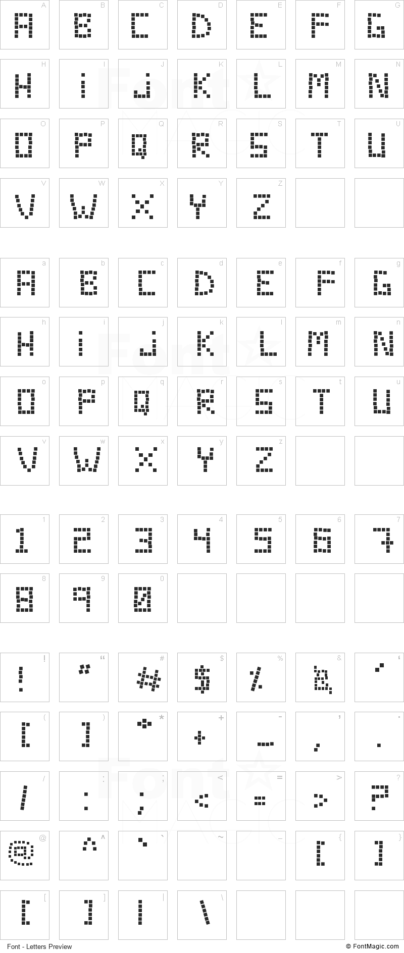 Tecno Chaos Font - All Latters Preview Chart