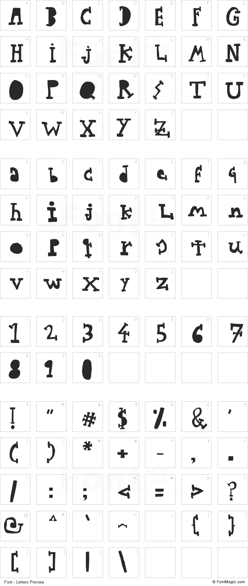 Woodcutter Typewritter Font - All Latters Preview Chart