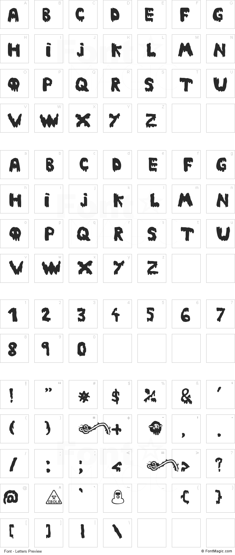 Ebola Font Font - All Latters Preview Chart