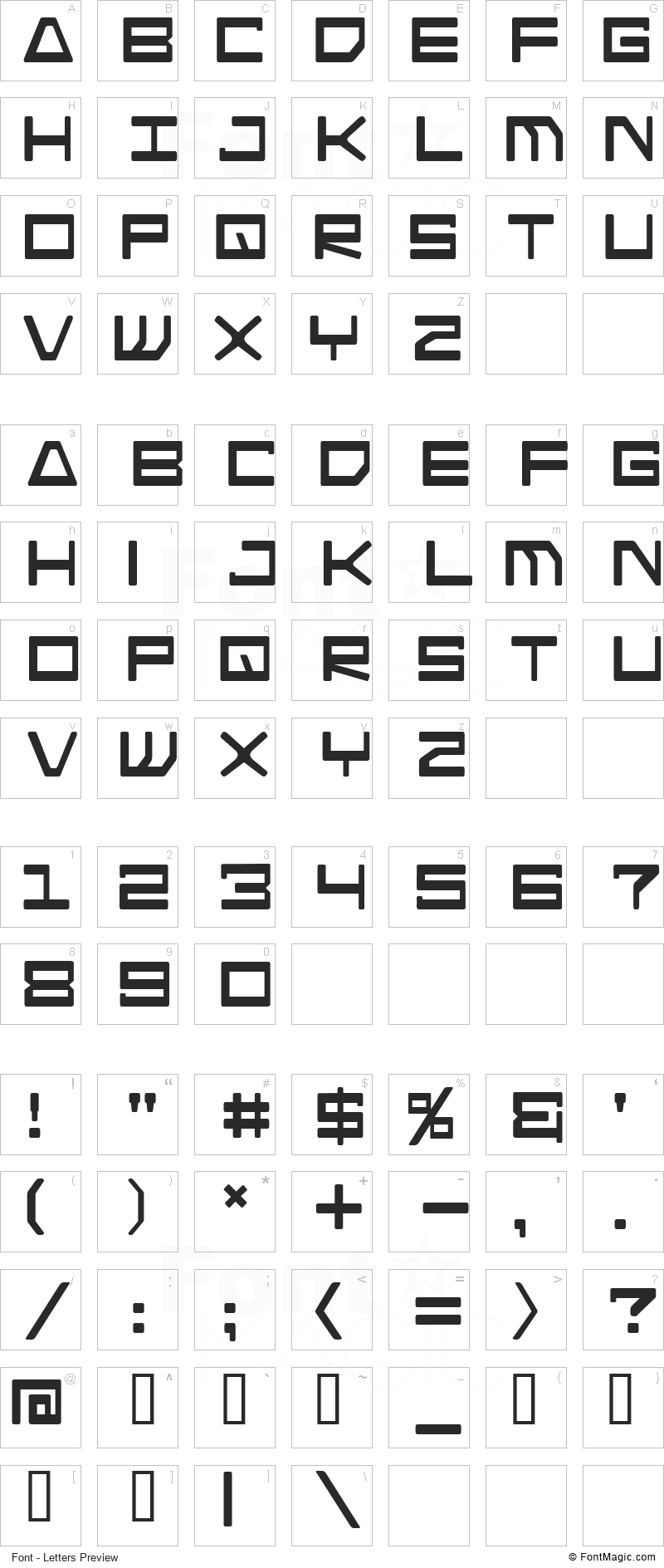 Android Nation Font - All Latters Preview Chart