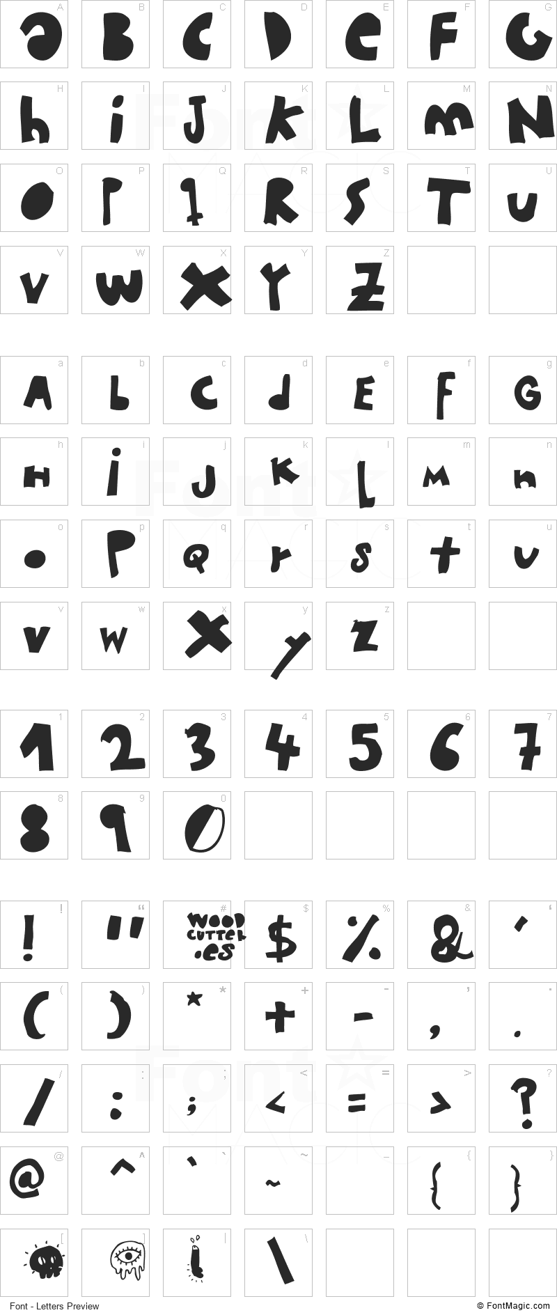 Woodcutter MMXII Font - All Latters Preview Chart