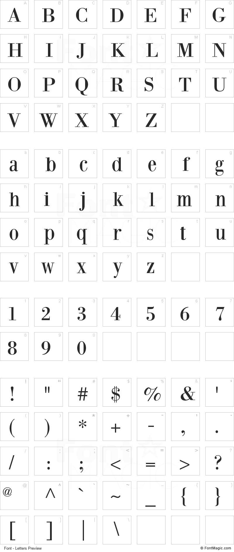 Bodoni XT Font - All Latters Preview Chart