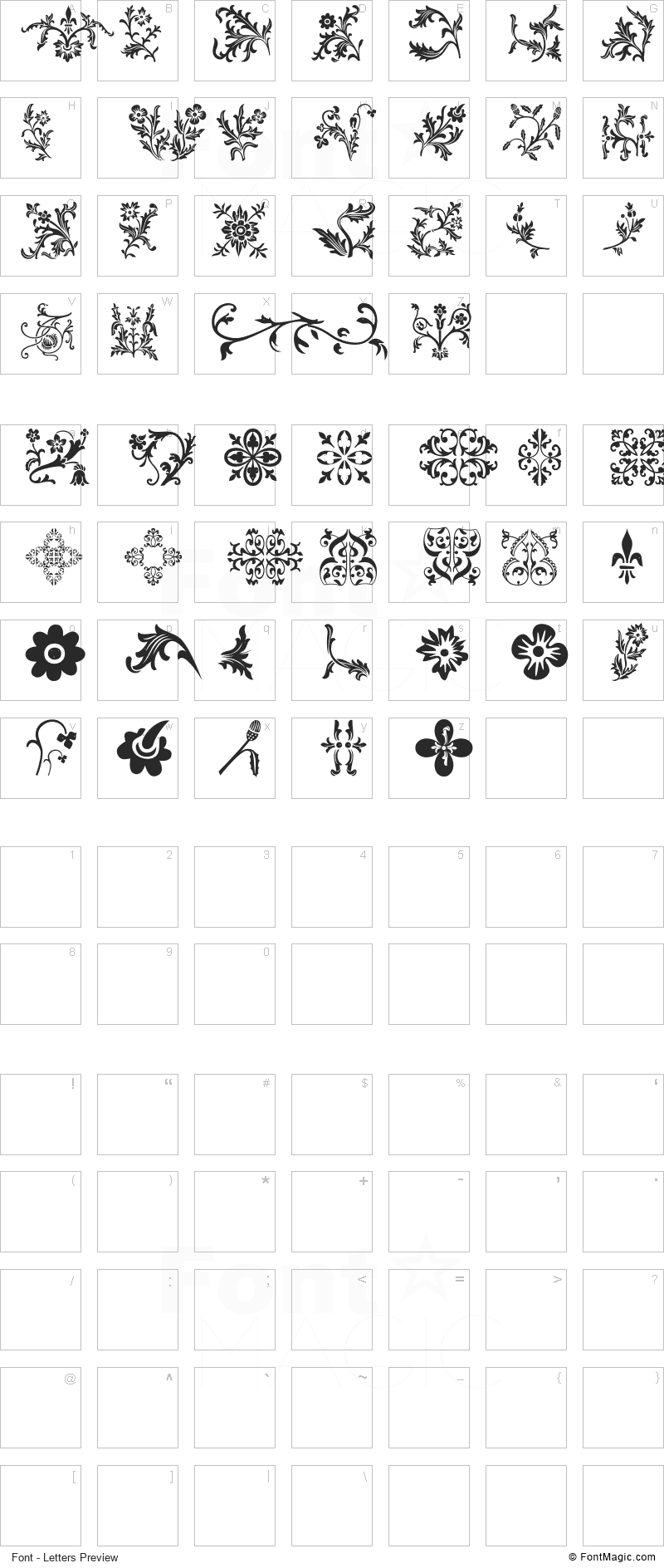 Floralia Font - All Latters Preview Chart