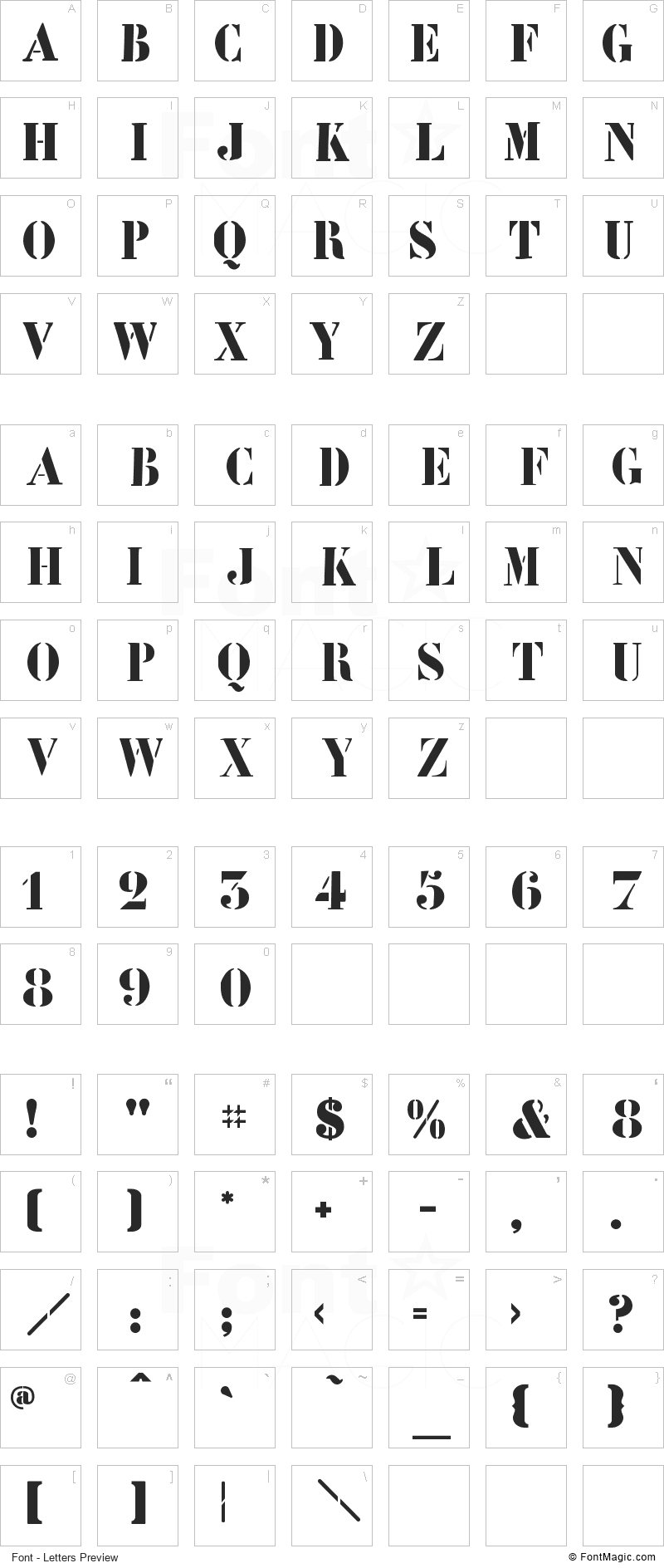 LeArchitect Font - All Latters Preview Chart