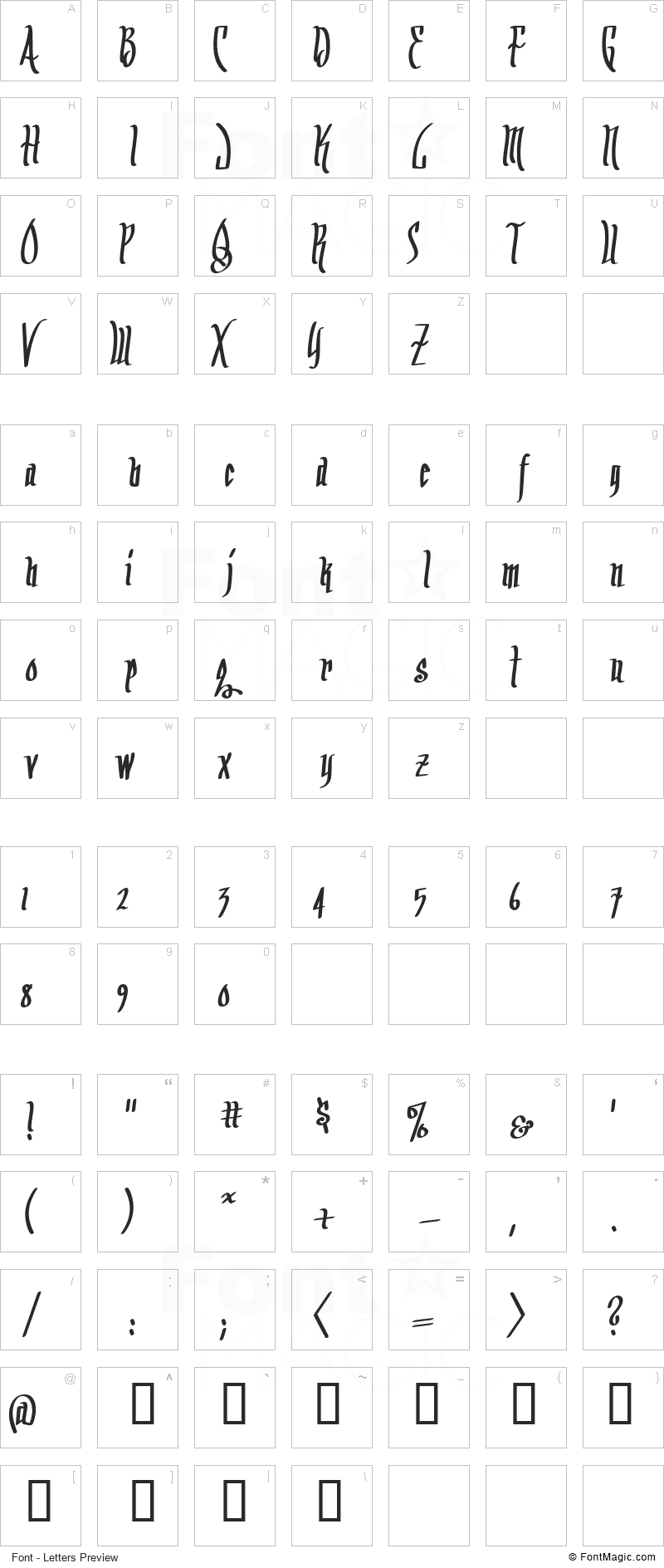 Arrr Matey BB Font - All Latters Preview Chart