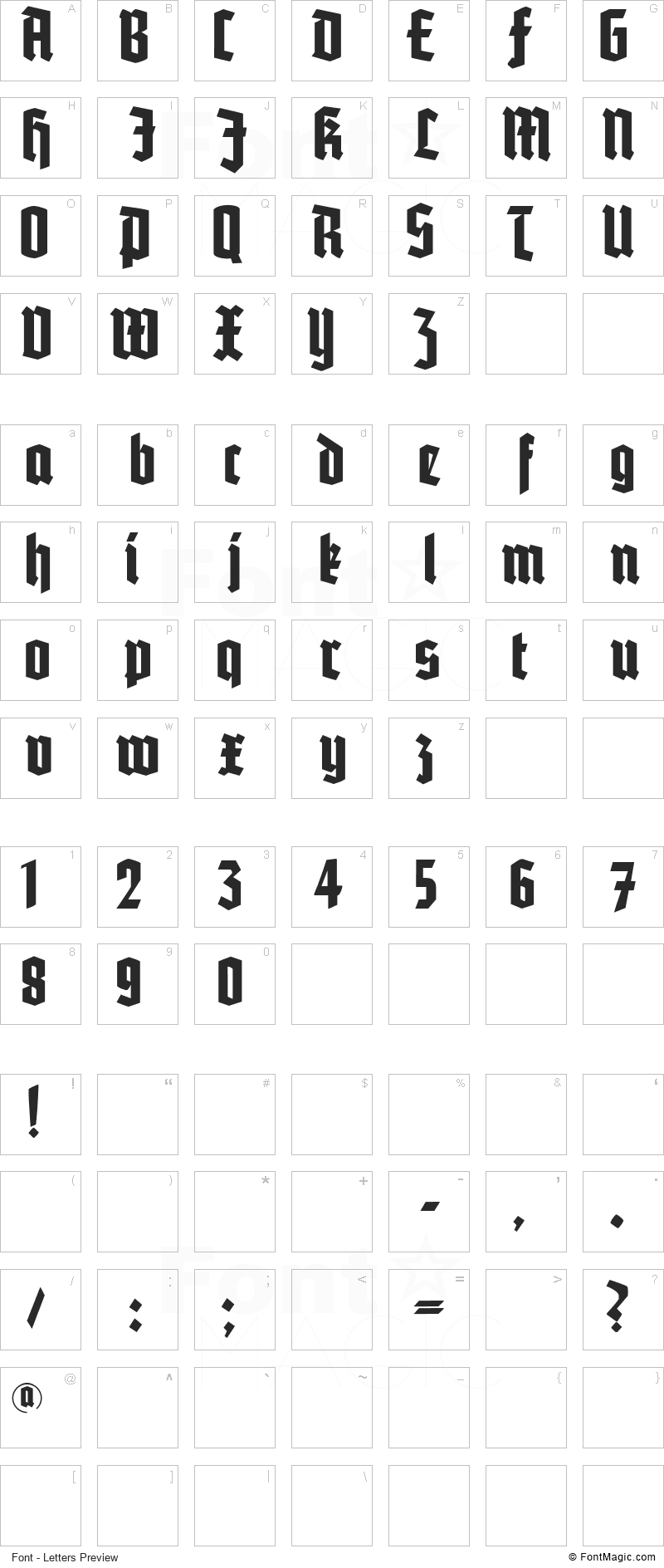 Potsdam Font - All Latters Preview Chart