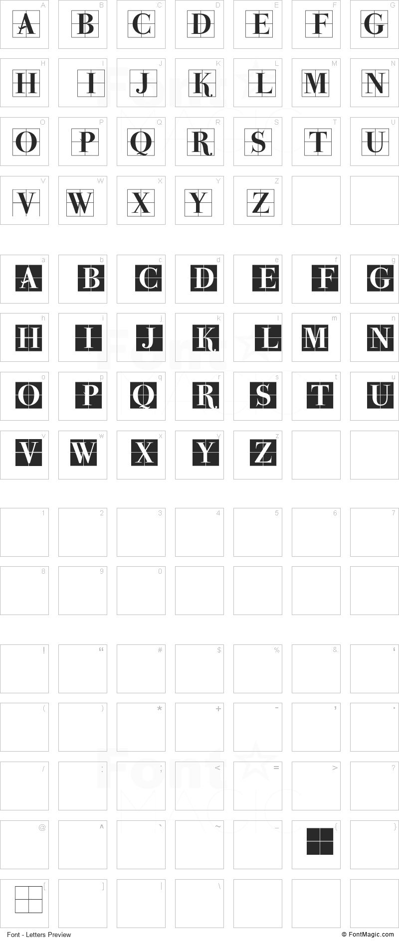 Parma Initialen MK Font - All Latters Preview Chart