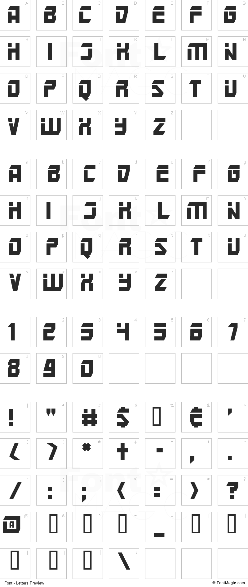 Mars Police Font - All Latters Preview Chart